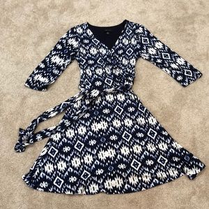 Navy and blue Aztec print wrap dress